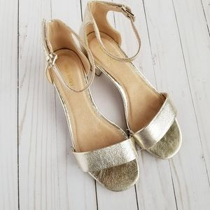 Old Navy Gold Foil Open Toe Heels